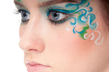 Half face portrait of sprite girl with faceart poster