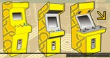 A selection of arcade machines in yellow. poster