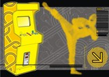Ninja beat-em-up fighting arcade in yellow & grey. poster