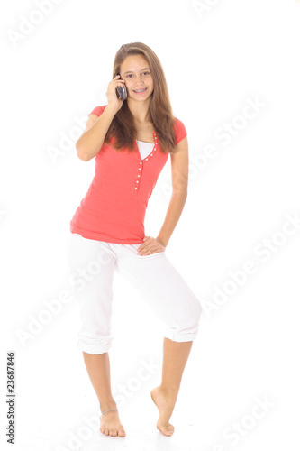 happy teen on the phone