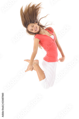 teen jumping isolated on white