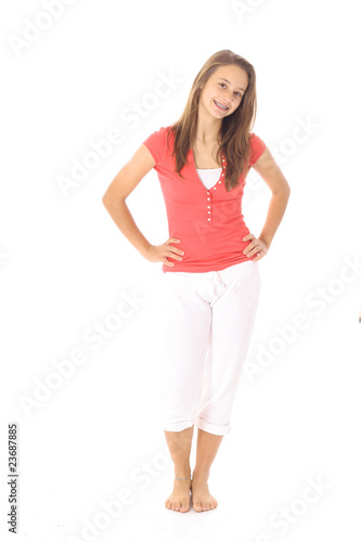 young latino teen girl isolated on white