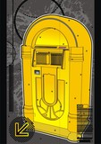 Yellow jukebox graphic design template. poster