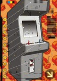 Grey video arcade machine on a red screw background. poster