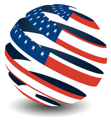 US flag with globe peel effect