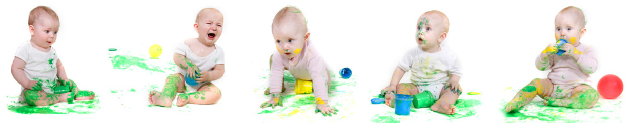 several babies painting over white