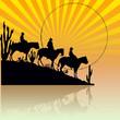 Tres vaqueros al sol