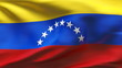Creased Venezuela flag in wind with seams and wrinkle