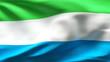 Creased Sierra Leone flag in wind in slow motion