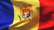 Creased Moldovan flag in wind with seams and wrinkle