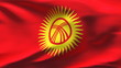 Creased Kyrgyzstan flag in wind with seams and wrinkle