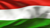 Creased Hungarian flag in wind in slow motion poster