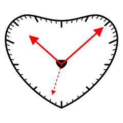 Ten after ten on a heart shaped clock, vector