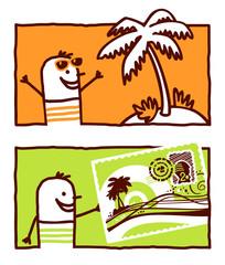 vacations postcard & coconut tree
