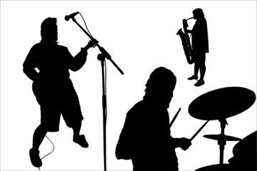 rock musicians silhouettes
