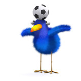 3d Blue bird showing skills with soccer ball poster