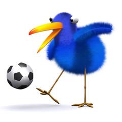 3d Blue bird kicks the soccer ball