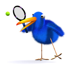 3d Blue bird plays tennis