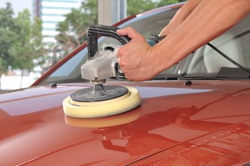 Car care with power buffer machine at service station