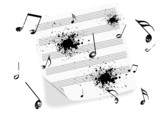 Illustration of a grunge music-sheet on white background