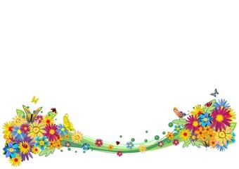 Onda di Fiori Astratta-Abstract Wave of Flowers-Vector