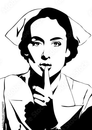Enfermera pidiendo silencio