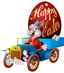 Easter bunny in auto
