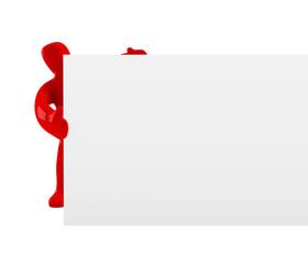 Figur mit Schild (mit Freistellungspfad / clipping path)