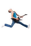 Awesome guitar player jumps poster