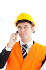 Male architect on phone