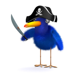 3d Pirate Blue bird