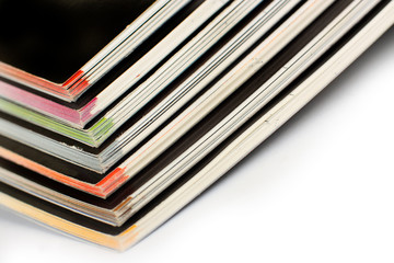 Stack of color magazines