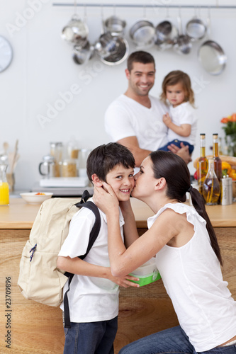 Attentive mother giving school lunch to her son