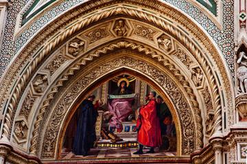Mary Mosaic Facade Duomo Cathedral Basilica Florence Italy