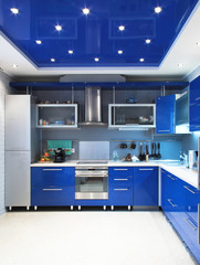 Modern kitchen interior in blue