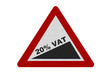 Photo realistic sign depicting 20% VAT, isolated on white