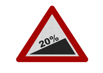 Photo realistic sign depicting steep slope - 20%
