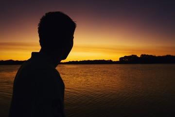 Willmar, Minnesota; Silhouette Of A Man