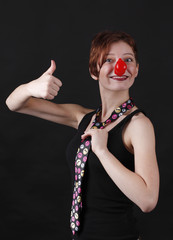 Mime with red nose and cravat