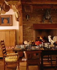 Traditional Dining Room with Brick Fireplace