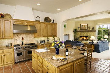 Traditional Kitchen Adjacent to Family Room