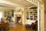 Fireplace and Built-in Bookcases in Living Room