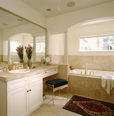 Combination Vanity and Dressing Table by Bathtub