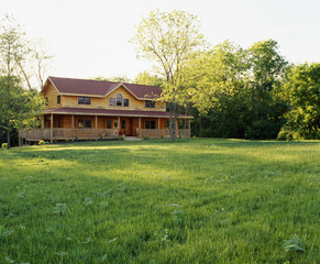 Large Lawn in Front of Log House
