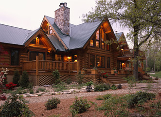 Large Log Home with Standing Seam Metal Roof