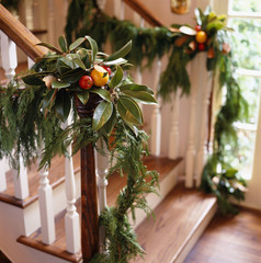 Holiday Decorations on Banisters