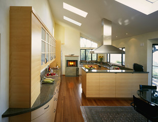 Contemporary Kitchen with Fireplace