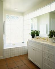 Tiled Tub, Countertop and Floor in Bathroom