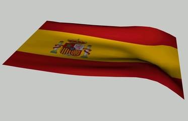 bandera de España ondulando sobre fondo blanco