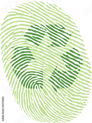 green recycle fingerprint in vector drawing